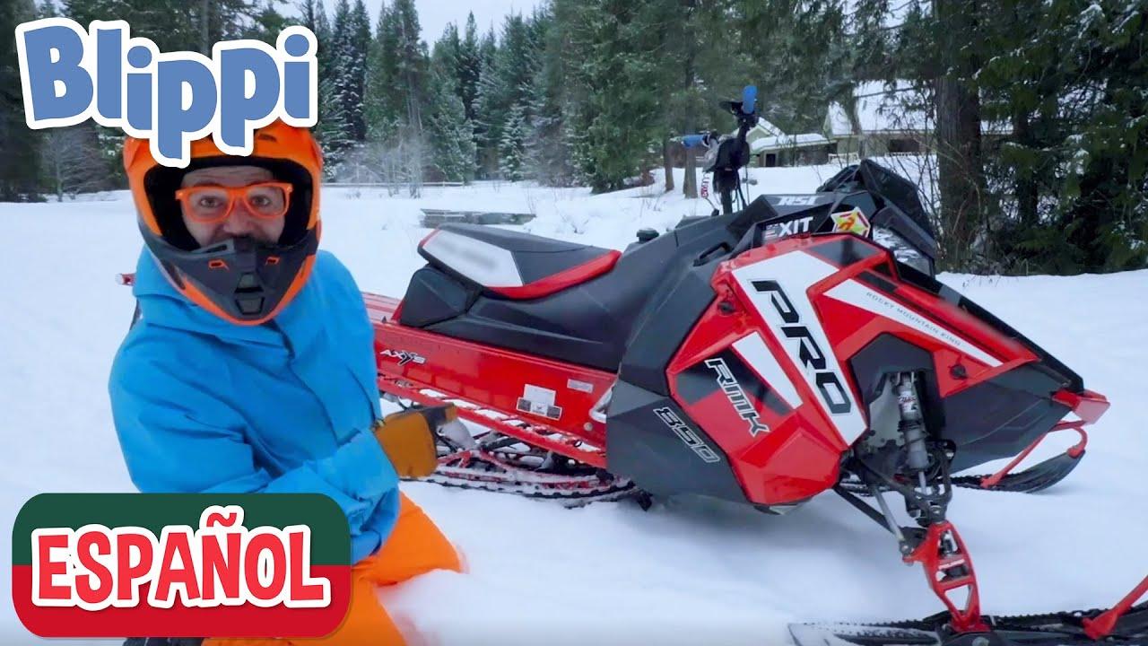Moto de nieve roja de Blippi - Vehículo súper rápido!!! | Videos de vehículos para niños