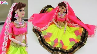 Barbie Doll Neon Lehenga Making | How to decorate Indian barbie doll in Bridal dress/jewellery