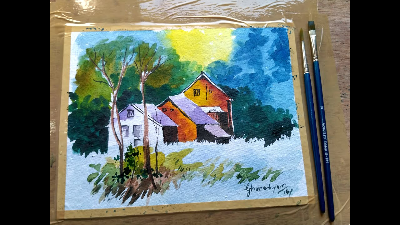 Beginners watercolor how to draw a house landscape youtube for How to watercolor for beginners