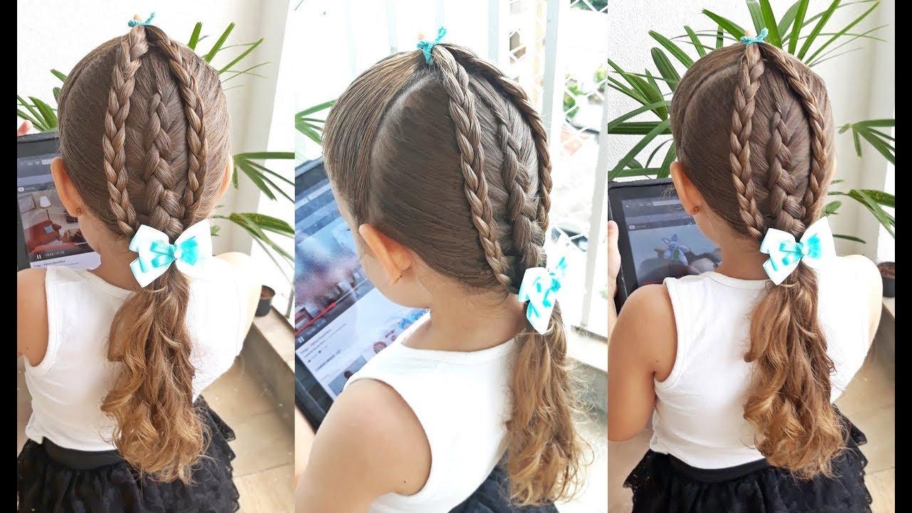 Penteado Infantil Com Tranças Simples Trança Inversa E Amarração