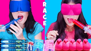 ASMR PINK AND BLUE CANDY RACE WITH CLOSED EYES