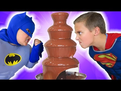 Thumbnail: Batman vs Superman vs GIANT CHOCOLATE FOUNTAIN Battle! Spider-man Egg Hunt! + Candy + Surprise Funny