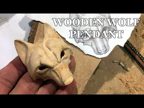 WOLF WOOD CARVING   HOW TO CARVE A WOLF PENDANT   WOODCARVING TIMELAPSE