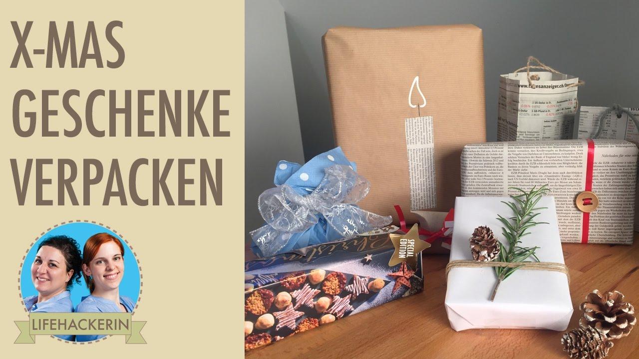 schnelle weihnachtsverpackung i geschenke verpacken ohne geschenkpapier i x mas diy youtube. Black Bedroom Furniture Sets. Home Design Ideas