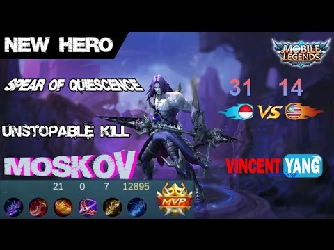 Mobile Legends - New Hero MOSKOV SPEAR OF QUIESCENCE Unstopable Kill Builds and Gameplay [MVP]