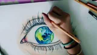 Earth eye drawing • Art by fia