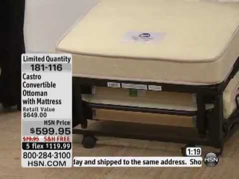 castro convertible ottoman with mattress - youtube