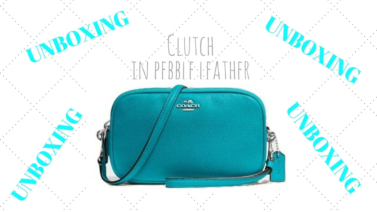 de3551170a Unboxing Coach clutch in pebble leather - YouTube
