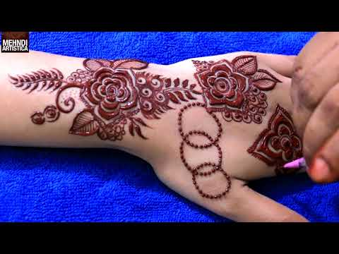 Gulf flower Henna Mehndi Design tattoo ❤️ Step by Step Mehendi Application for Hands
