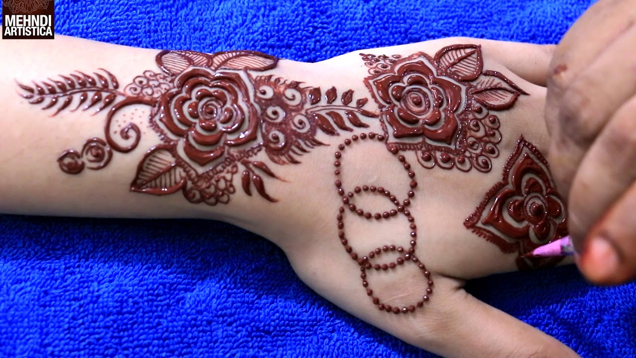 how to draw a henna flower step by step