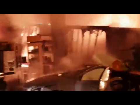 השריפה בתחנת הדלק בשער הגיא. צילום: כיבוי והצלה מחוז ירושלים