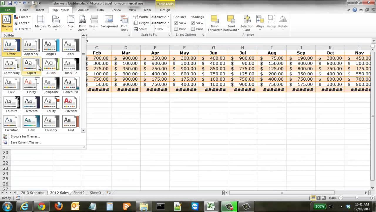 how to use themes in excel
