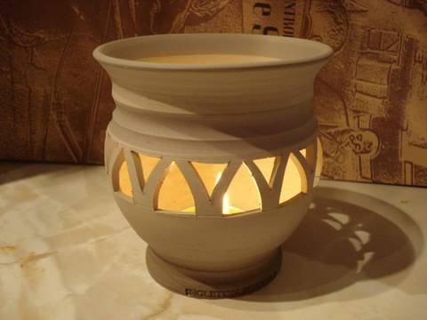 Piercing Carving A Clay Pottery Candle Holder Bowl