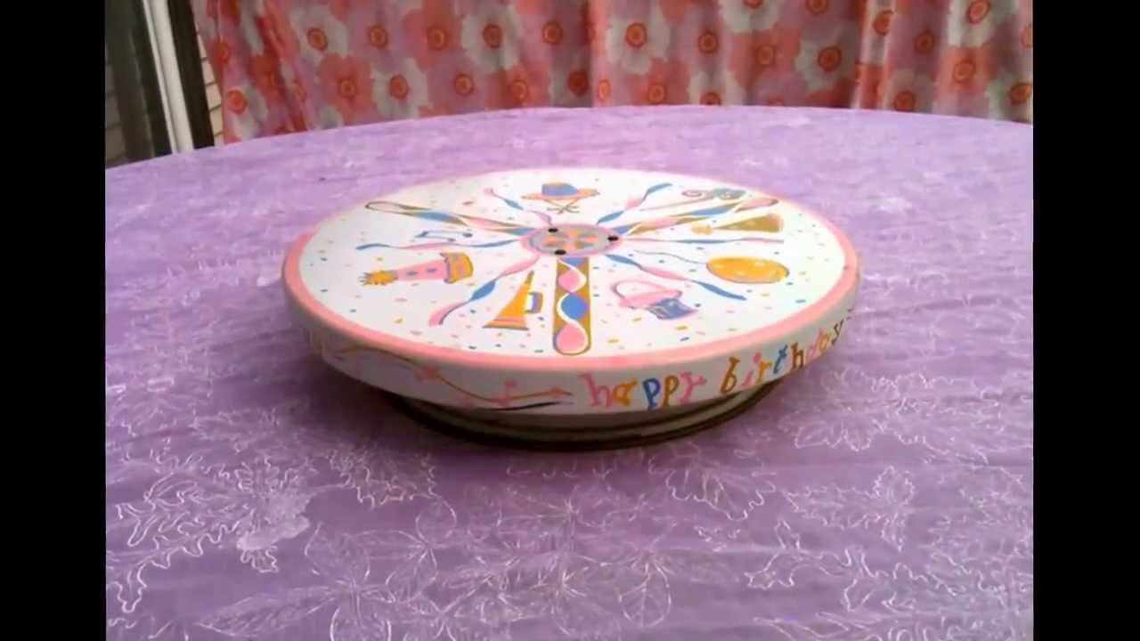 Happy Birthday Musical Revolving Cake Plate