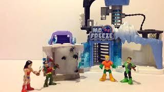 Funny Imaginext toy Mr Freeze Snowcat Battle justice league Batman for Arkham Asylum Headquarters