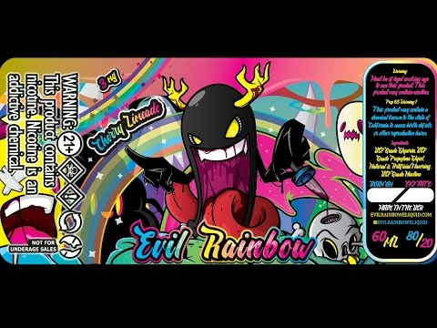 EJuice Label creation process for Evil Rainbow- Graphic Design