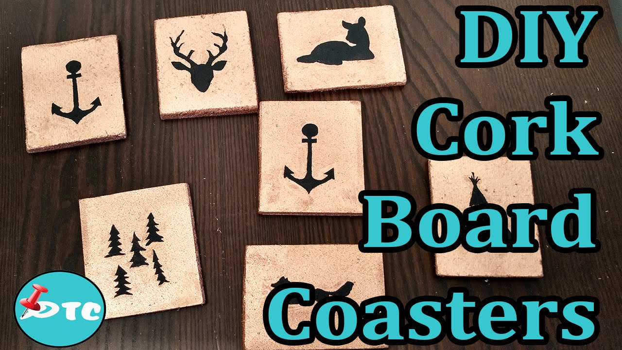 How to make diy personalized cork board coasters youtube for How to make a bulletin board without cork