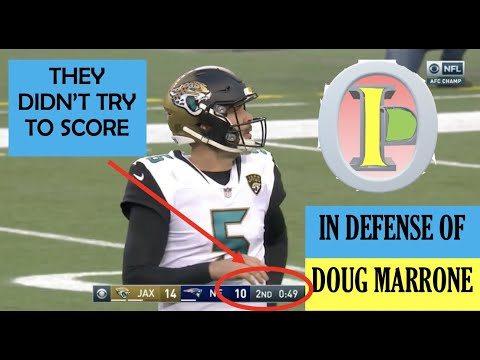 "[OC] [Highlight] [Longform] At the end of the 1st half of the 2017 AFC Championship, Jaguars HC Doug Marrone was criticized for not trying to score, and for ""playing scared."" But when you consider the context, it makes a lot more sense. This is a breakdown and defense of Marrone's infamous decision"