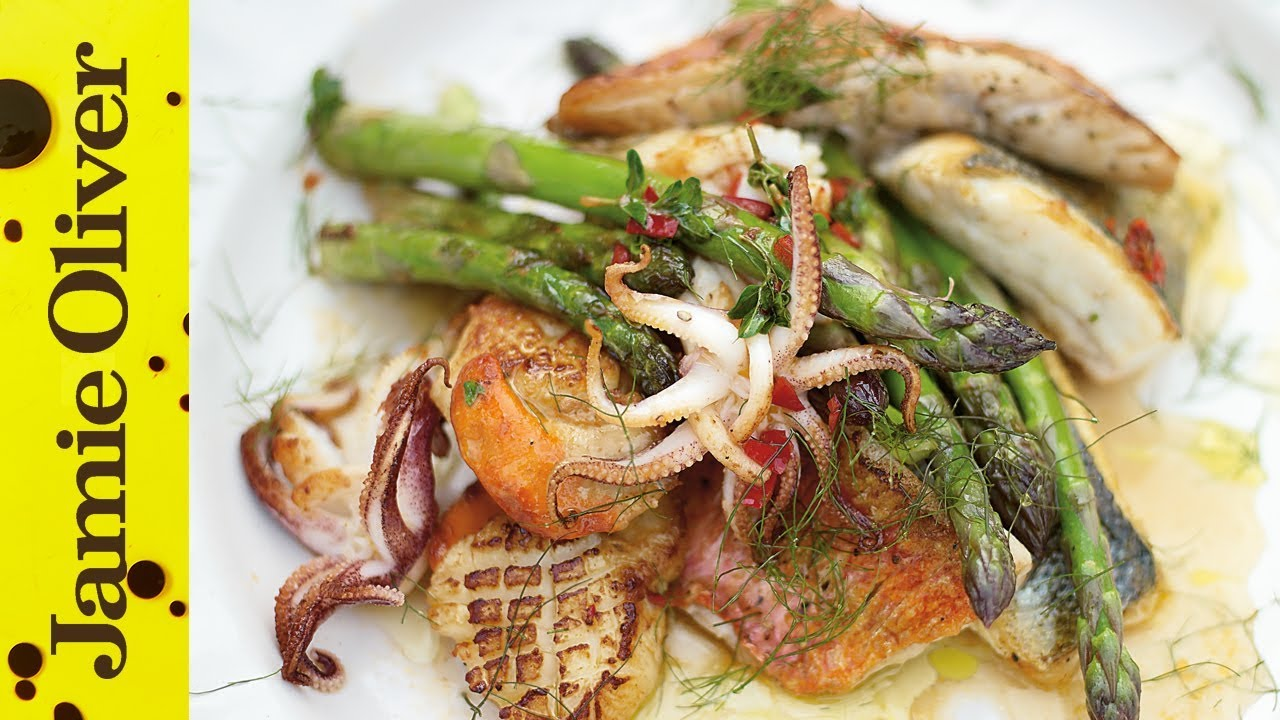 Asparagus & Mixed Fish Grill | Jamie Oliver - YouTube