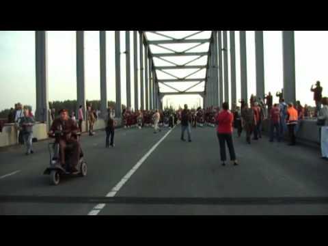 Market Garden Commemoration008 massed pipes and drums at John Frost bridge of Arnhem