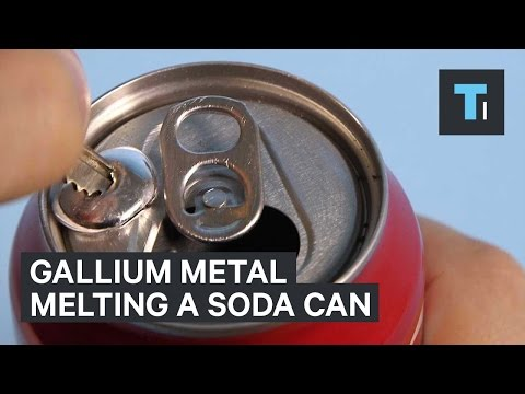 Gallium metal melting a soda can