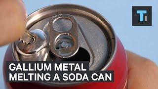 Gallium metal melting a soda can