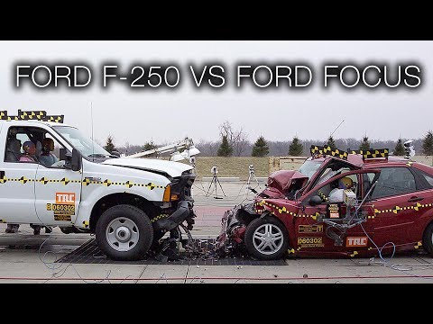 Ford F-250 Vs. Ford Focus – Vehicle-to-Vehicle Full Frontal Crash Test