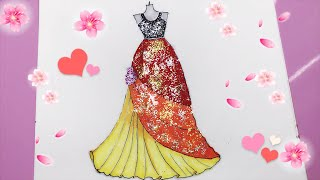 How to Draw a Dress with Glitter Painting - Vẽ Váy dạ hội lấp lánh