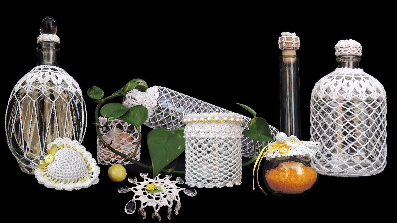 Behäkelte Flaschen Und Gläser Häkeln Crochet Youtube