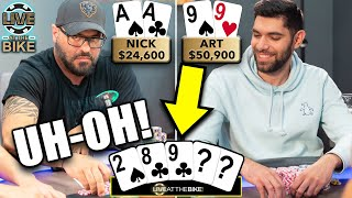 FLOPPED NUTS GET REKT in High Stakes Poker ♠ Live at the Bike!
