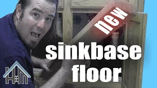 How to replace rotted sink base cabinet floor bottom. Easy! Home Mender.