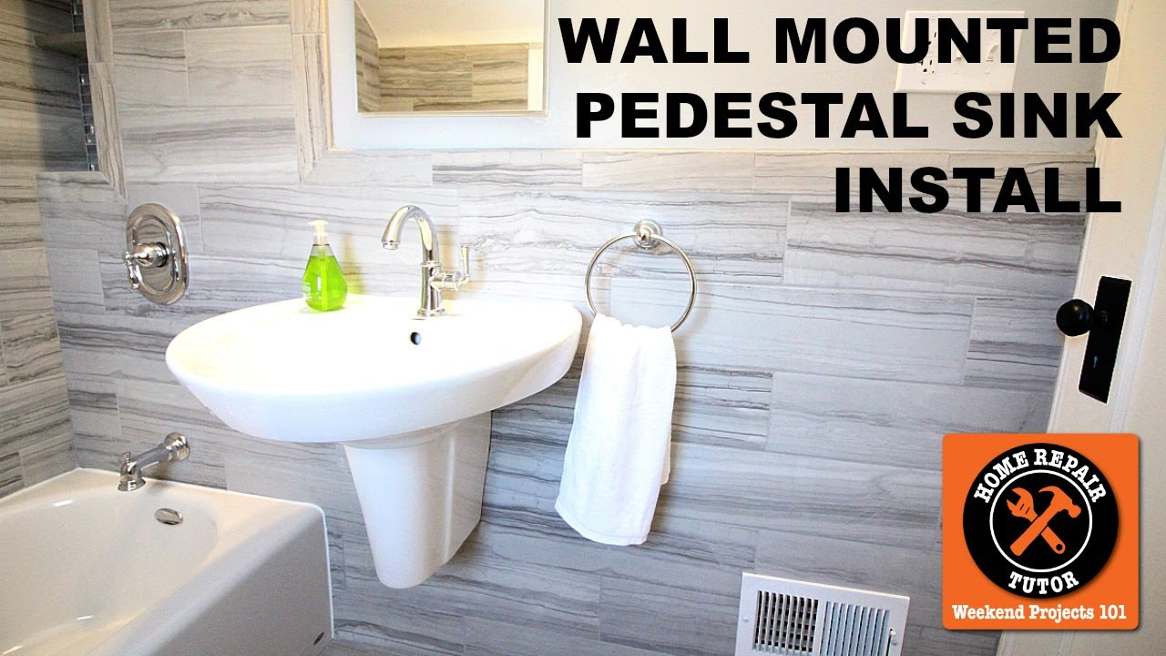 to install a wall mounted pedestal sink