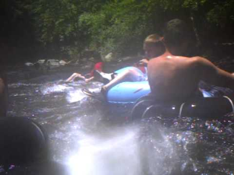 Deep Creek, NC. Jackson Hurst moves from one tube to another