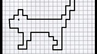 Кот (графический диктант по клеточкам), рисуем по клеточкам котика