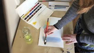 Akvarellimaalauksen perusteet; laveeraus, laseeraus ja märkää märälle.