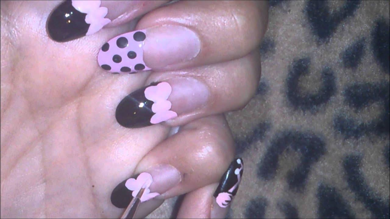 Uñas decoradas paso a paso color rosa y negro - YouTube