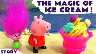 Peppa Pig full episode Magic of Play Doh Ice Cream with Trolls fun story for kids