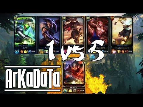"""""""ArKaDaTa"""" Challenger Yasuo Main Vs 5 Silver Players - Stream Gameplay - 6.24 - League of Legend"""