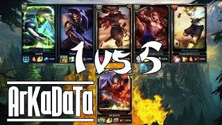 """ArKaDaTa"" Challenger Yasuo Main Vs 5 Silver Players - Stream Gameplay - 6.24 - League of Legend"
