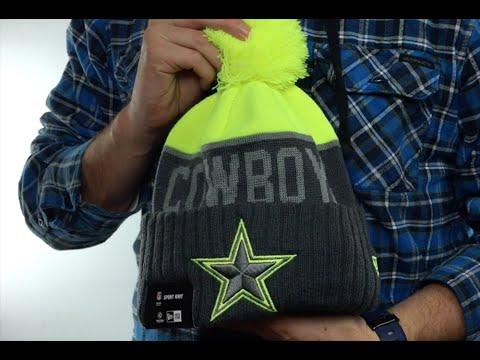 3faf93bc5d0b4 Cowboys  2015 STADIUM  Charcoal-Yellow Knit Beanie Hat by New Era ...