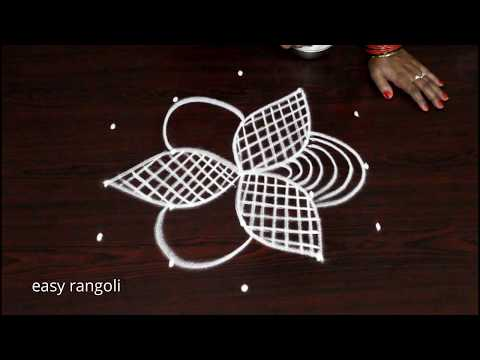 Beautiful & simple daily kolam with 5dots || easy rangoli by Suneetha  || best new muggulu