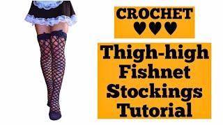Crochet Fishnet Stocking/High Knee Lace Socks Tutorial