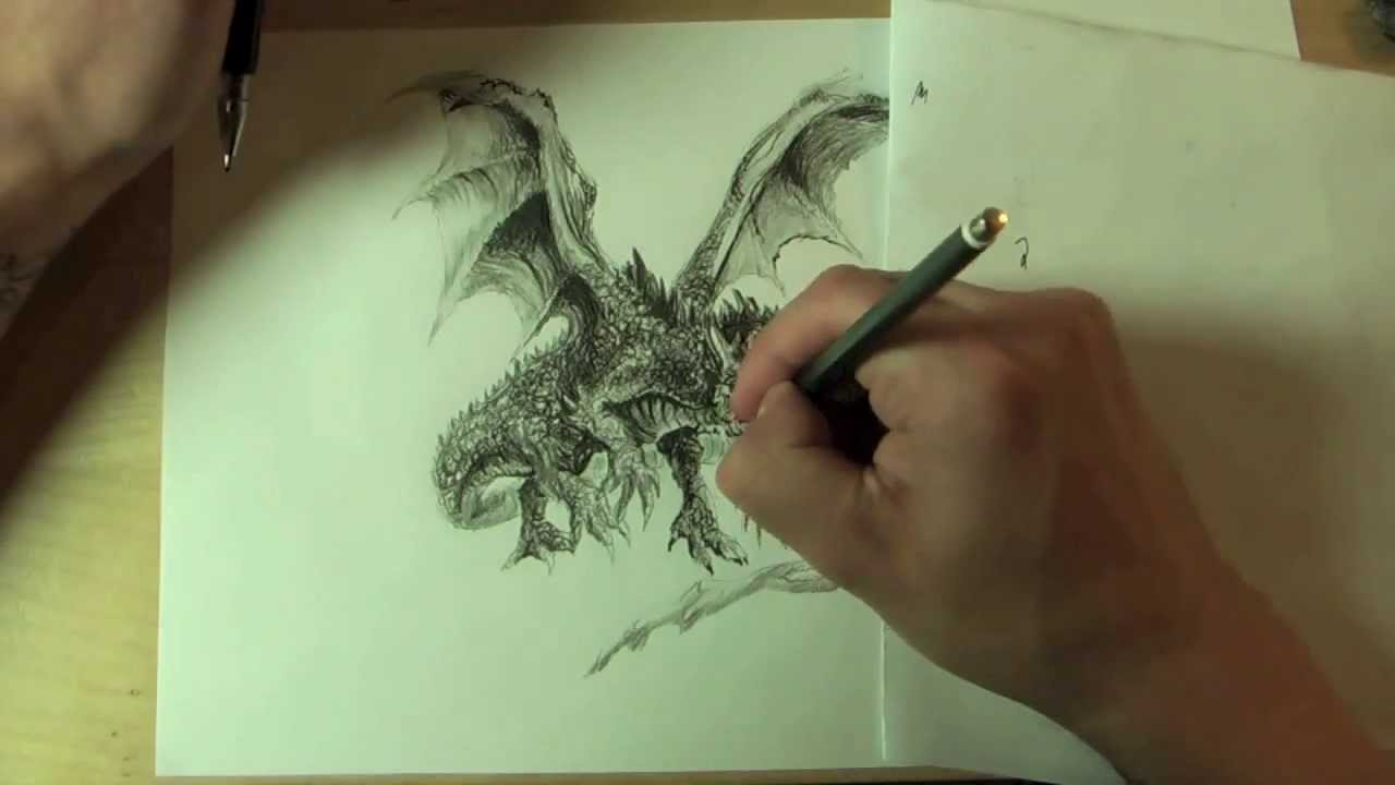 wie zeichnet man einen drachen how to draw a dragon online zeichenkurs youtube. Black Bedroom Furniture Sets. Home Design Ideas