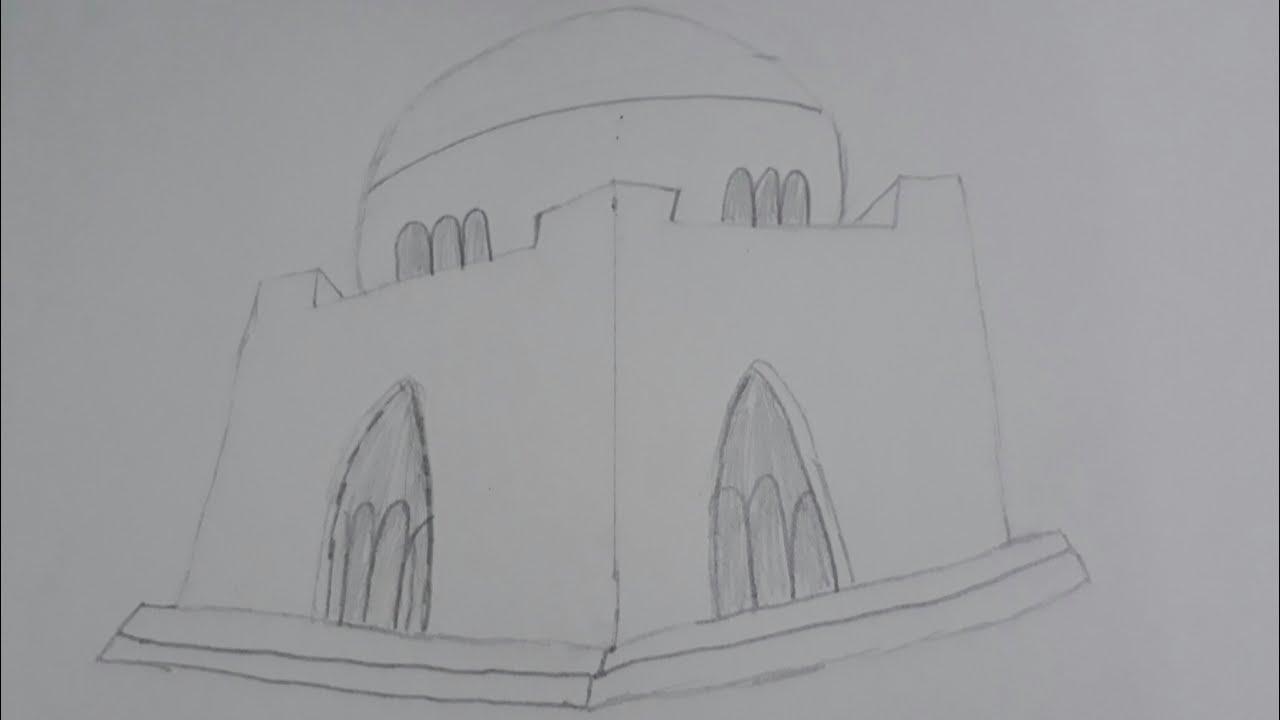 How to draw mazar e quaid