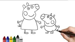 How to Draw Peppa Pig and Mummy Pig ★ Drawing for kids Tutorial - Art Lessons | KidsAtWork