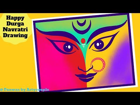 How to draw Durga Maa   Durga Navratri Easy Drawing for kids  Dandiya art   Navratri festival