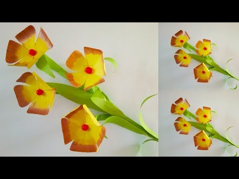 How to Make A Gift Flower | Stick Paper Flower Making Step by Step | Diy Handmade Gift Ideas