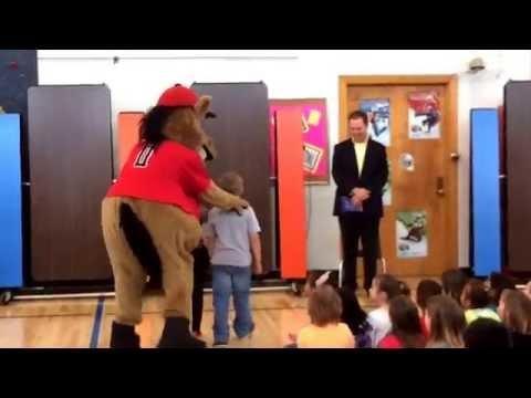 Homer Mustang makes his entrance at Newman School.