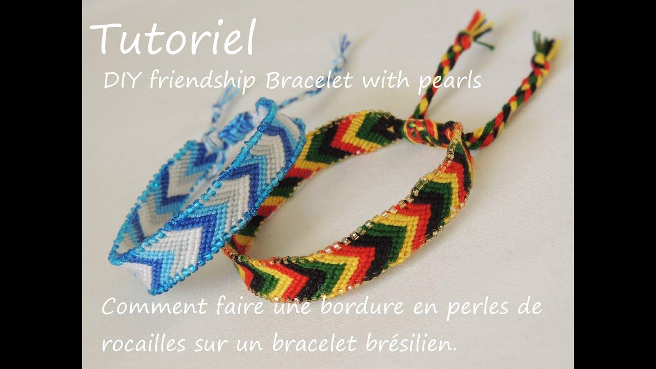 comment faire une bordure en perles de rocailles DIY friendship bracelet with pearls  YouTube