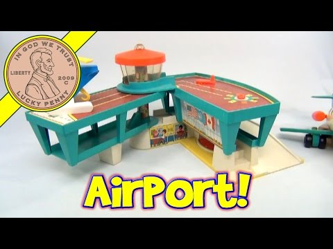 1972 Vintage Fisher Price Play Family #996 Airport - Airplane - Little People Luggage - Cars
